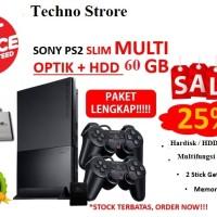 Sony Playstation 2 SLIM OPTIK + HARDISK 60GB + PAKET LENGKAP - PS 2