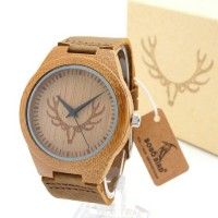 Bobobird Handmade Men Solid Wood Watch with Natural Coffe Sandalwood