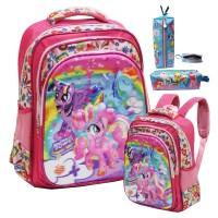 harga Tas Ransel Anak SD My Little Pony Flower 5D 3 Kantung+Kotak PensilKain Tokopedia.com