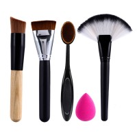 Jual Kuas Makeup Brush Set 5pcs- Foundation Contour Oval Fan Beauty Blender Murah