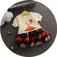 Setelan baju anak cewek bayi balita kids warna merah best seller