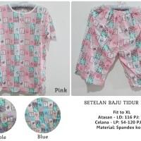 Setelan Baju Tidur Kotak - Piyama Celana 3/4 Spandex Korea Fit To XL