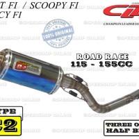 Knalpot Cld Beat Fi / Spacy Fi / Scoopy Fi Type C2 Tri-Oval Half Blue