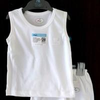 MIYO White Setelan Oblong Singlet + Celana Pendek S,M,L