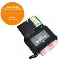 Dompet Pria (Slim Compact Bifold Wallet Zipper) Kulit Sapi