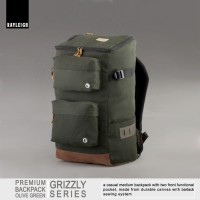 Jual Rayleigh Grizzly Green / Tas Ransel Canvas Vintage / FREE RAINCOVER Murah