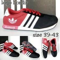 sepatu adidas neo logo bordir merah hitam