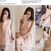 Elegant Mini Dress Pesta Pink Tanpa Lengan Import Murah Berkualitas