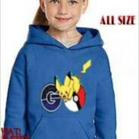Jual sweater anak pokemon hoodie jaket cowok biru blue kid boy Murah
