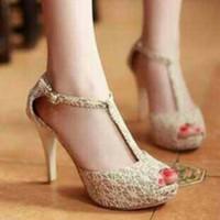 High heels brukat model tali T 12cm cream