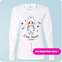 Kaos Perawat Lengan Panjang Cute Nurse Kartun Hijab / Muslim Custom Na