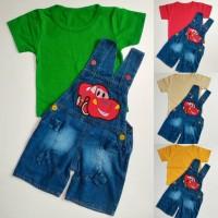 harga Celana Monyet Overall Anak Bayi Cowok Denim Jeans Cars McQueen Tokopedia.com
