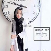 Baju Atasan Wanita Muslim Agni Top Katun Rayon Tunik White Black RWYV