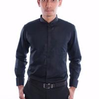 Kemeja Slimfit Frenchcuff Shirt Model Cufflinks Manset BLACK STRETCH