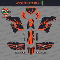 Sticker striping motor stiker Kawasaki KLX Modif Orange Polos Spec B