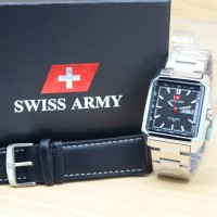 JAM TANGAN PRIA SWISS ARMY DOUBLE STRAP DATE DAY SILVER BLACK