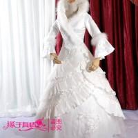 harga Wedding dress - Gaun Pengantin Lengan Panjang Kerah Bulu Korea 2015 Tokopedia.com