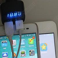 4 in 1 USB Car Charger, Ampere-Voltmeter-Temperatur Meter Display Biru