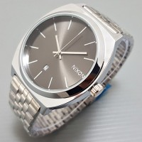 Jam Tangan Pria / Cowok Nixon Classic Date Rantai Silver Black