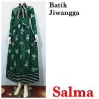 Baju Gamis Batik Wanita Busui Salma Ijo, Cocok Untuk Pesta, Seragam