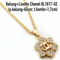 harga KL1617-GE Kalung + Liontin Chanel Perhiasan Lapis Emas Gold Tokopedia.com