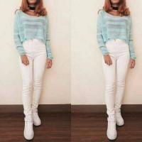 highwaist jeans white / hw white / hw putih