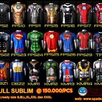 kaos superhero,iron man,batman,superman,spiderman,deadpool,anime