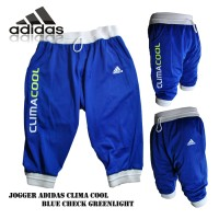 Celana jogger climacool blue check greenlight