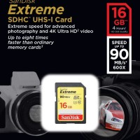 SanDisk SDHC EXTREME 16GB 90MB/s Class 10 Memory Kamera SD Card 16 GB