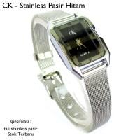 jam tangan wanita ck watch stainles pasir hitam full set