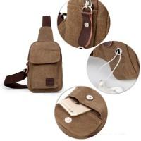 harga Bodypack Bag BH211 Tas Selempang Pria Kanvas Dengan Lubang Earphone Tokopedia.com