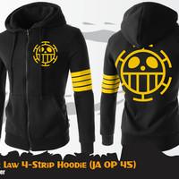 Jaket Anime One Piece Trafalgar Law 4-Strip Jacket Hoodie (JA OP 45)