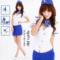 harga Lingerie Sexy  Costume Pramugari Kostum Stelan Putih Biru Keren Import Tokopedia.com