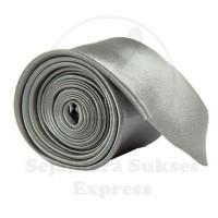 Dasi Silk Satin Istimewa Slim dan Standart Polos Kilap Warna Grey Abu