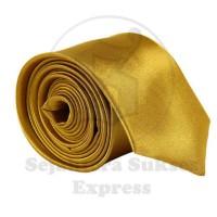 Dasi Silk Satin Istimewa Slim dan Standart Polos Kilap Warna Gold Emas