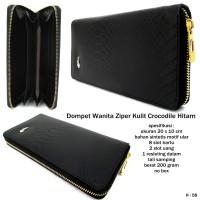 dompet wanita ziper kulit crocodile hitam