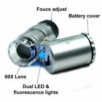 Jual Microscope mini portable mikroskop 60X lens 3LED full set tas kulit Murah