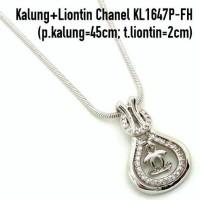 harga KL1647P-FH Kalung + Liontin Chanel Perhiasan Lapis Emas Putih Tokopedia.com