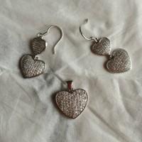 Anting love set silver murni 925 import berlapis emas putih.