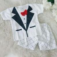 Baju setelan anak bayi jas / set baby tuxedo dasi merah