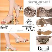 harga sepatu sandal low heel pesta korea gold daun unik blink import Tokopedia.com