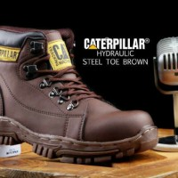 Sepatu Boots Caterpillar Coklat Murah/Safety Shoes Branded Berkualitas