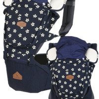 Gendongan Bayi (Baby Carrier) i-Angel HipSeat Rainbow Floral Navy