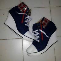 Jual GROSIR WEDGES BOOTS ZIPPER BLUE   Sepatu Boots   Boots Wanita Biru Murah