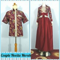 Baju Couple Sarimbit Gamis Batik Novita Merah, Modern, Busui