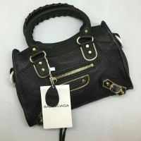 TAS BALENCIAGA EDGE CITY23CM LAMBSKIN LEATHER BLACK MIRRORQUALITY