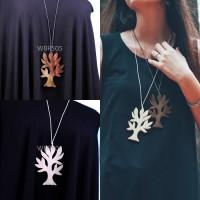 Kalung Kekinian Cantik Kayu Sonokeling Vintage Teh Daun Pohon Unik