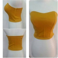 bustier model crop bahan polyester