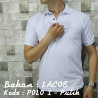 Jual POLO 1 Kaos Kerah Putih Polos Baju Pria Cowok Bahan Lacos Kaus Pendek Murah