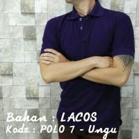 Jual POLO 7 Kaos Kerah Ungu Polos Baju Pria Cowok Bahan Lacos Kaus Pendek Murah